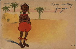 Black native woman with palm trees, cartoon