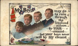 Anti-saloon message with 4 boys