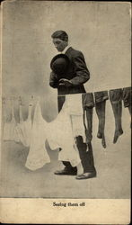 Man looking at underclothes on line