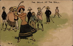 A woman prepares to swing at a golf ball while eight men watch