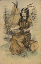 Native american maiden sitting on a log