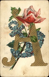 Initial A with Red Rose and anchor of flowers