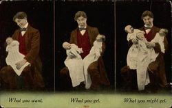 Man holds first one baby, then two, and then three Postcard