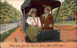Couple in a Horse-Drawn Buggy Postcard