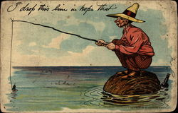 Man fishing on rock