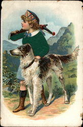 Boy with hunting dog