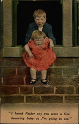 Brother hanging sister out window Postcard