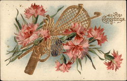 Carnations and sports equipment