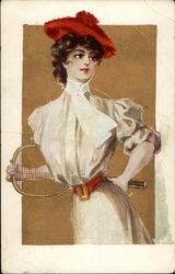 Old Fashioned Girl in a Red Hat Holding a Tennis Racket Postcard