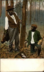 Black man and boy pose near a snared opposum