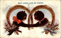Kittens wishing each other good luck Postcard