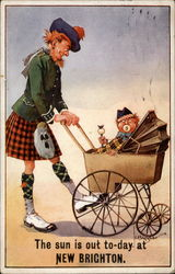 Man in kilt pushes a baby carriage with costumed baby Postcard