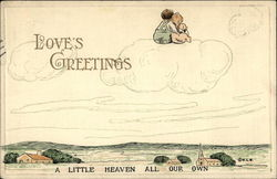 Child couple floating on cloud
