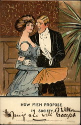 Man in formal attire speaks to a lady wearing an evening gown and holding a fan