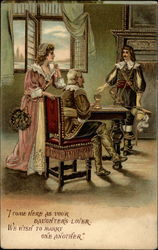 Man in cavalier dress proposes marriage to lady in presence of her father