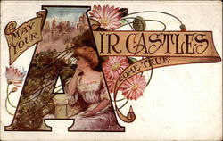 Woman and castle in letter A
