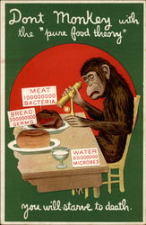 Monkey sitting at a table inspects his food with a scope