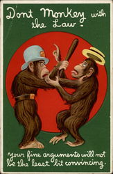 Monkey arresting another monkey