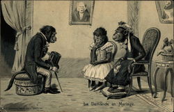 Monkey suitor proposes marriage in parlor of lady monkey and daughter