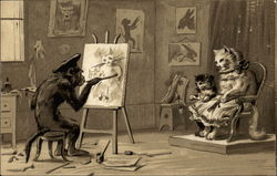 Monkey Painting Cats