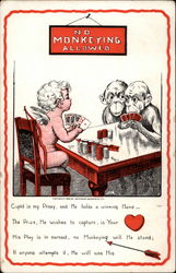 Cupid playing poker with monkeys