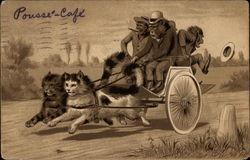 Apes in clothes driving cat-drawn wagon