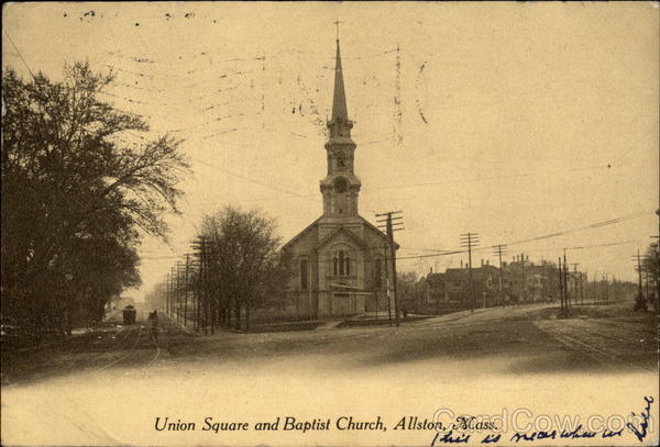 Union Square and Baptist Church Allston Massachusetts