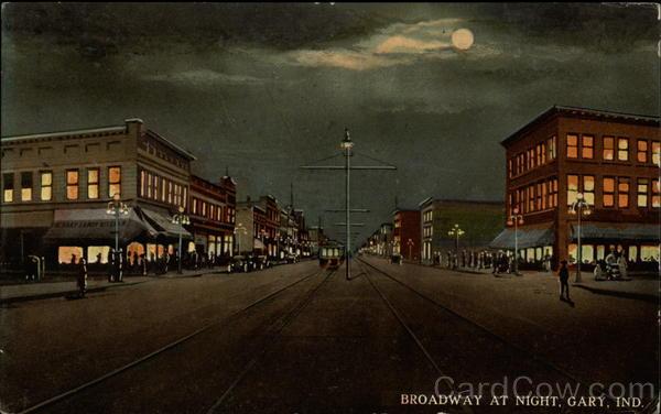 Broadway at Night Gary Indiana