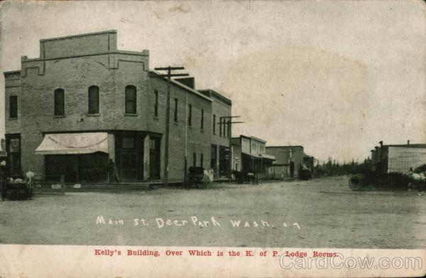 Kelly's Building, over which is the K. of P. Lodge Rooms Deer Park Washington