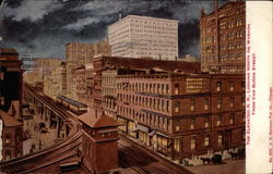 The Elevated R. R. Looking North on Wabash from Van Buren Street Postcard