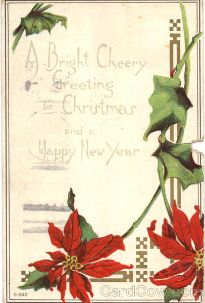 A Bright Cheery Greeting for Christmas and Happy New Year