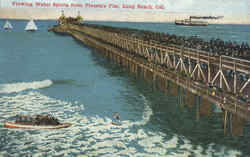 Viewing Water Sports from Pleasure Pier Postcard