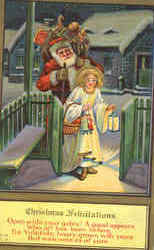 Christmas Felicitations - Santa with Girl