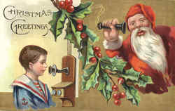 Christmas Greetings - Santa on Telephone