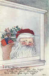 Santa Looking through Window w/Toys