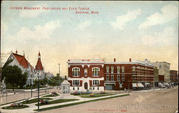 Jeffer's Monument, post office and Elk's temple Saginaw Michigan