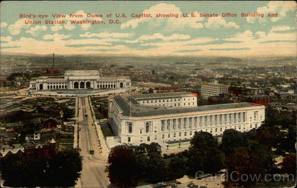 Bird's-eye View from dome of U. S. Capitol, showing U. S. Senate Office Building and Union Station Washington