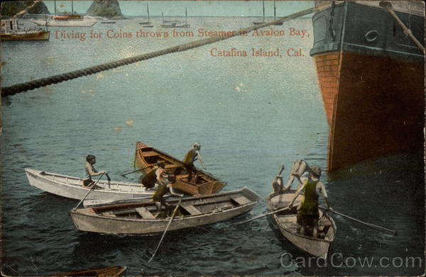 Diving for Coins thrown from Steamer in Avalon Bay Santa Catalina Island California
