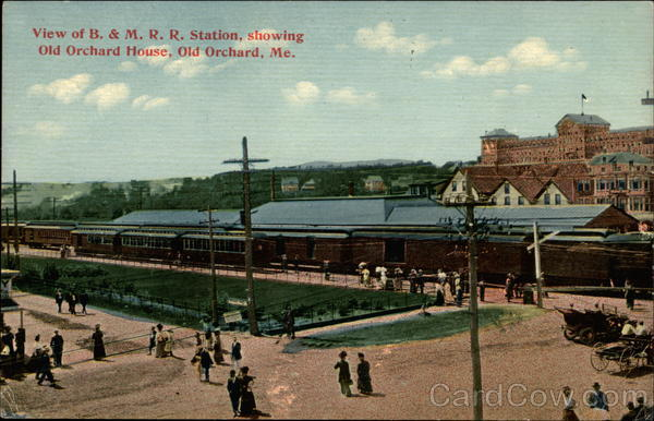 View of B. & M. R. R. Station, showing Old Orchard House Old Orchard Beach Maine
