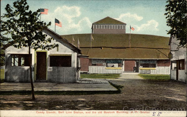 Candy Stand at Belt Line Station and the old Bostock Building Dunkirk New York