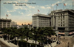 Plaza Park Showing U.S. Grant Hotel