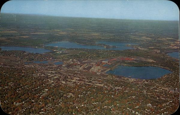 Air View of La Porte, Indiana; City of Lakes