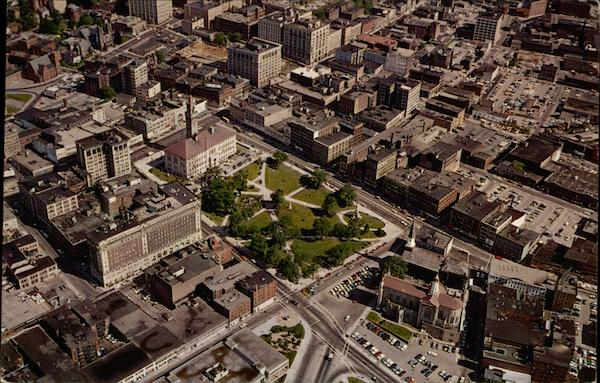Aerial View of Downtown Worcester Massachusetts
