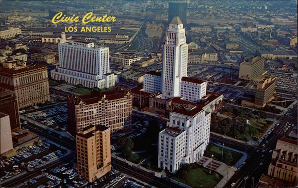 Aerial view of Civic Center and downtown Los Angeles California