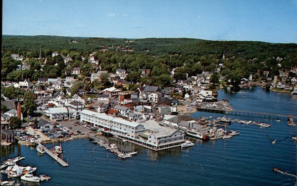 Aerial View of Fishermans Wharf Inn and the Waterfront Boothbay Harbor Maine