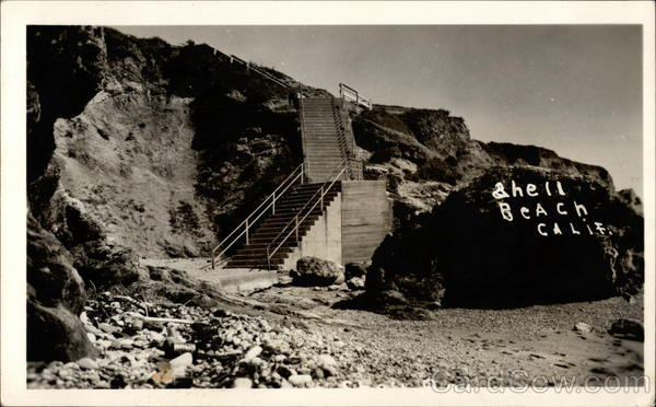 Stairs leading to rocky beach Shell Beach California