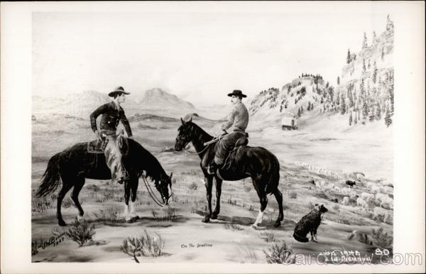 Painting of two cowboys on horseback Cowboy Western