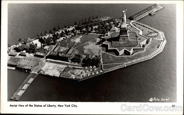 Aerial View of the Statue of Liberty New York