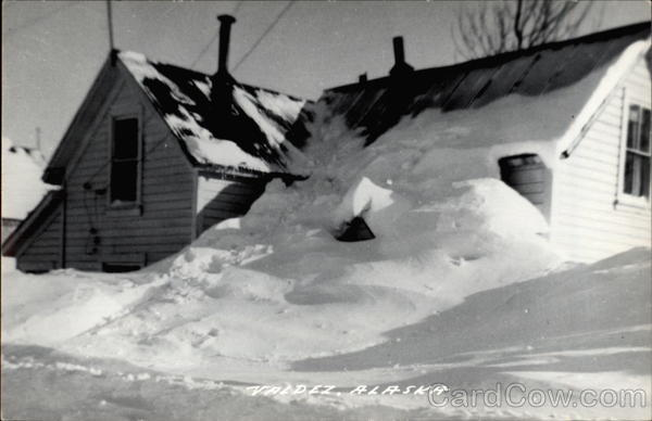 House buried in snow Valdez Alaska