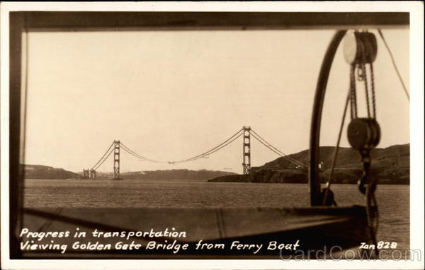 Progress in transportation, Viewing Golden Gate Bridge from Ferry Boat San Francisco California